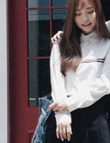 Damen Druck Einfach Lässig/Alltäglich Hemd,Hemdkragen Langarm Baumwolle Dünn