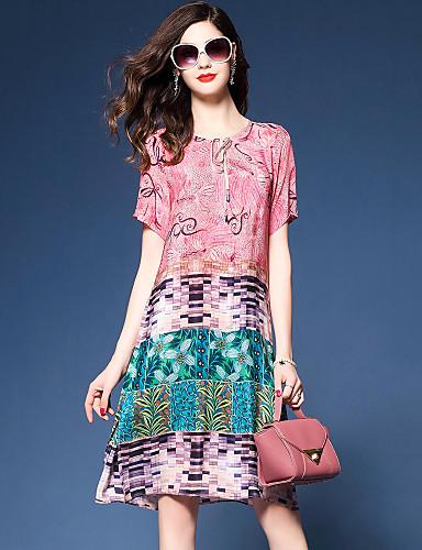 Mulheres Feriado / Para Noite Moda de Rua Seda Solto Vestido - Estampado Altura dos Joelhos / Verão
