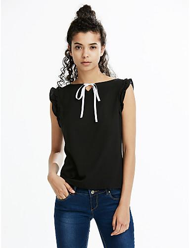 abordables Hauts pour Femme-Tee-shirt Femme, Couleur Pleine - Coton Manche Papillon Bateau Moutarde / Printemps / Eté / A Volants