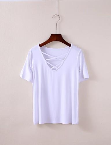 Damen Solide Einfach Sexy Street Schick Ausgehen Lässig/Alltäglich T-shirt,V-Ausschnitt Sommer Kurzarm Baumwolle Dünn Mittel