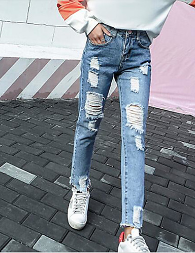 Dámské Šik ven Mikro elastické Džíny Kalhoty Volný Mid Rise Jednobarevné