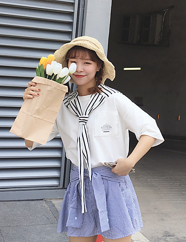 Damen Geometrisch - Freizeit Ausgehen Baumwolle T-shirt