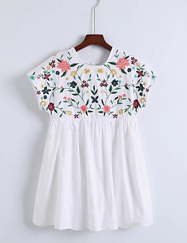 Damen Lose Etuikleid Kleid-Ausgehen Lässig/Alltäglich Einfach Street Schick Blumen Stickerei Gurt Übers Knie Kurzarm Seide Baumwolle