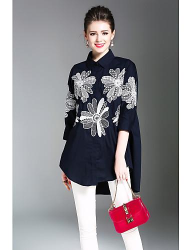 billige Topper til damer-Skjortekrage Skjorte Dame - Blomstret, Trykt mønster Chinoiserie Arbeid Navyblå / Vår / Sommer