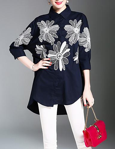 Mulheres Camisa Social - Trabalho Temática Asiática Estampado, Floral Colarinho de Camisa / Primavera / Verão