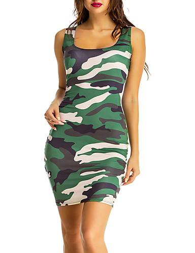 913707eb0f1 Dame I-byen-tøj Gade Bodycon Kjole - Farveblok / Camouflage, Blandet ...