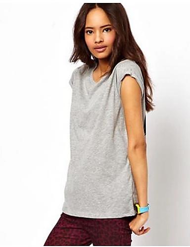Damen Druck Einfach Lässig/Alltäglich T-shirt,Rundhalsausschnitt Frühling Sommer Kurzarm Baumwolle Mittel