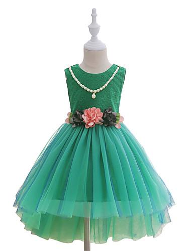 Mädchen Kleid Modisch Druck Spitze Baumwolle Polyester Sommer Ärmellos