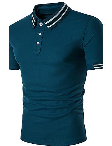 Homens Polo Clássico, Listrado Retalhos Algodão Colarinho de Camisa