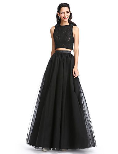 Χαμηλού Κόστους Φορέματα δυο κομμάτια-Γραμμή Α Με Κόσμημα Μακρύ Δαντέλα / Τούλι Ντε πιες Κοκτέιλ Πάρτι / Χοροεσπερίδα / Επίσημο Βραδινό Φόρεμα με Πλισέ με TS Couture®