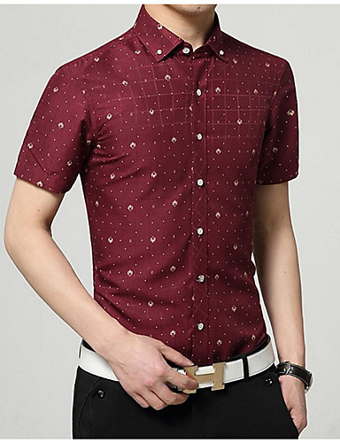 Pánské - Geometrický Jednoduchý Košile / Krátký rukáv