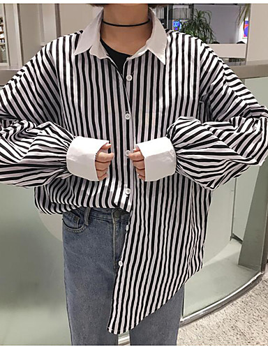 Dámské Proužky Běžné/Denní Jednoduché Košile-Jaro Polyester Košilový límec Dlouhý rukáv