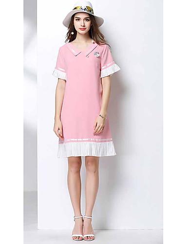 Damen A-Linie Kleid-Lässig/Alltäglich Einfarbig Hemdkragen Knielang Kurzarm Polyester Sommer Hohe Hüfthöhe Mikro-elastisch Dünn