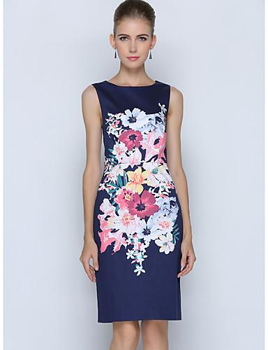 Damen Etuikleid Kleid-Arbeit Übergröße Einfach Blumen Rundhalsausschnitt Knielang Ärmellos Polyester Sommer Mittlere Hüfthöhe Unelastisch