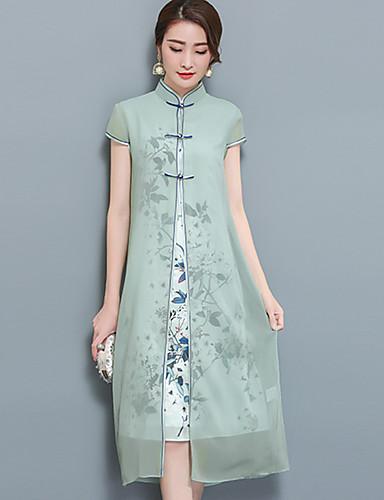 Damen Zweiteiler Kleid-Ausgehen Übergröße Chinoiserie Blumen Ständer Midi Kurzarm Nylon Sommer Mittlere Hüfthöhe Mikro-elastisch Mittel