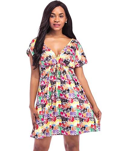 Mulheres Tamanhos Grandes Evasê Vestido - Estampado Decote V Mini