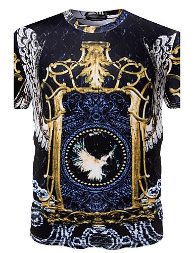 Herren Druck Aktiv Punk & Gothic Lässig/Alltäglich Arbeit T-shirt,Rundhalsausschnitt Sommer Kurzarm Baumwolle Polyester Dünn
