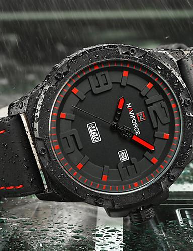 NAVIFORCE Homens Quartzo Relógio de Pulso Relógio Militar Relógio Esportivo Japanês Calendário Mostrador Grande Silicone Banda Luxo