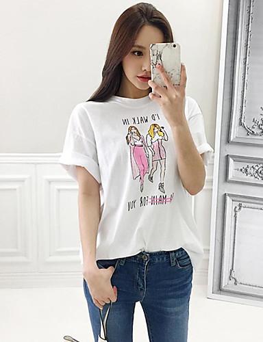 Damen Druck Buchstabe Einfach Lässig/Alltäglich T-shirt,Rundhalsausschnitt Frühling Sommer Kurzarm Baumwolle Dünn
