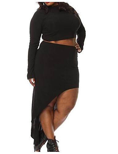 Damen Lose Kleid-Lässig/Alltäglich Einfach Solide Rundhalsausschnitt Asymmetrisch Langarm Baumwolle Sommer Hohe Hüfthöhe Unelastisch Dünn