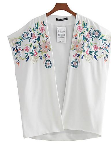 Damen Stickerei Muster Alltagskleidung Jacke,V-Ausschnitt Sommer Kurzarm Standard Polyester