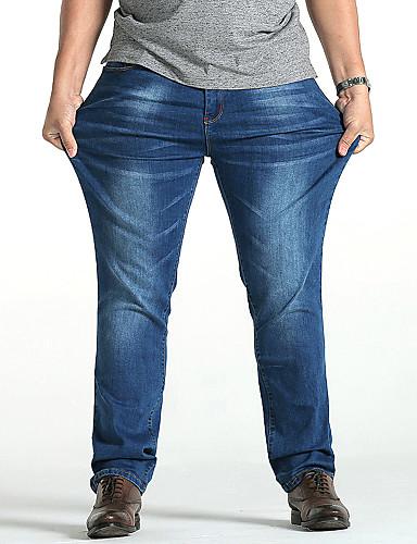 Herr Plusstorlekar Bomull Rak   Jeans Byxor - Enfärgad Blå 44 ... 225bbd01f41b4