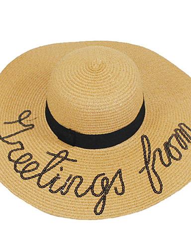Naisten Hat Vintage Sievä Juhla Toimisto Vapaa-aika Naisten lierihattu Olkihattu Aurinkohattu - Color Block, Rusetti Puhdas väri
