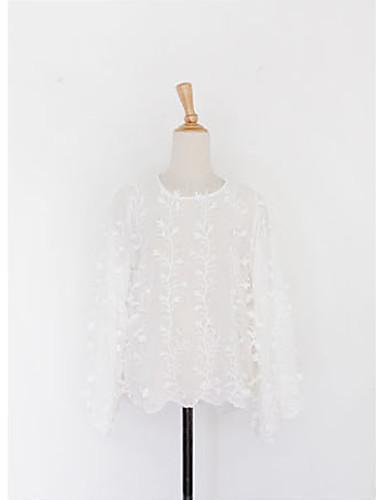 Dámské Jednobarevné Běžné/Denní Jednoduché Roztomilé Tričko Bavlna Polyester Kulatý Dlouhý rukáv