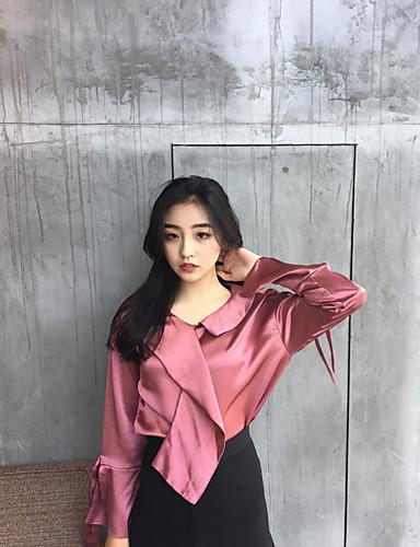 Dámské - Jednobarevné Vintage Košile Do V