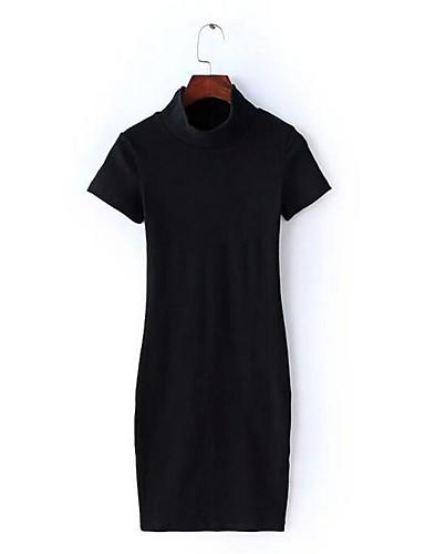 Damen Bodycon Kleid-Ausgehen Lässig/Alltäglich Solide Rundhalsausschnitt Übers Knie Kurzarm Nylon Sommer Mittlere Hüfthöhe Mikro-elastisch