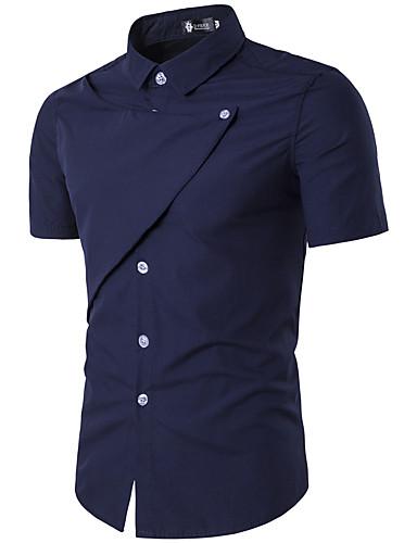 Herren Solide Einfach Street Schick Aktiv Lässig/Alltäglich Hemd,Hemdkragen Alle Saisons Kurzarm Baumwolle Kunstseide Dünn