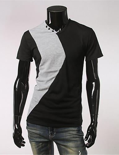 Herrn Einfarbig - Einfach Baumwolle T-shirt, V-Ausschnitt / Bitte wählen Sie eine Nummer größer als Ihre normale Größe. / Kurzarm