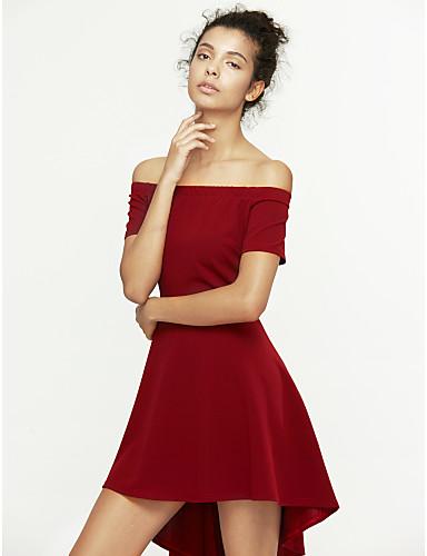 女性用 フレア ドレス ソリッド アシメントリー オフショルダー