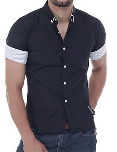 Homens Camisa Social Básico, Sólido Colarinho Com Botões Delgado / Manga Curta