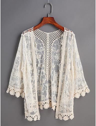 Mulheres Camisa Social Renda, Sólido Decote V Solto / Primavera / Verão