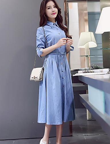 Damen Jeansstoff Kleid-Lässig/Alltäglich Einfach Solide Hemdkragen Midi Langarm Polyester Sommer Hohe Hüfthöhe Unelastisch Dünn