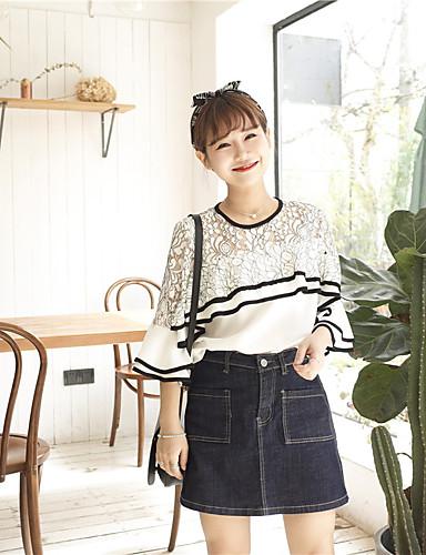 Damen Einfarbig Einfach Lässig/Alltäglich T-shirt,Rundhalsausschnitt ½ Länge Ärmel Baumwolle
