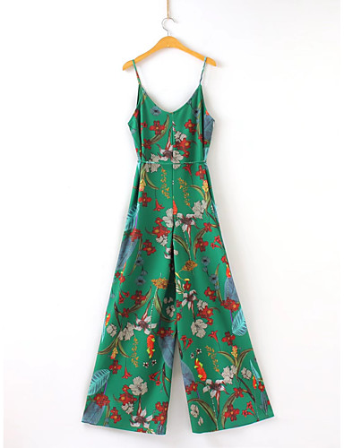 Women's Jumpsuit Pure Color Print Strap
