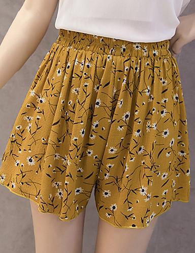 Damen Einfach Niedlich Hohe Hüfthöhe strenchy Lose Kurze Hosen Hose,Polyester Sommer Druck