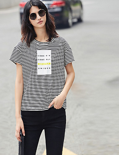Mulheres Camiseta Simples Listrado
