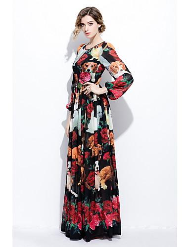Damen Lantern Sleeve Swing Kleid - Druck, Mehrfarbig Maxi