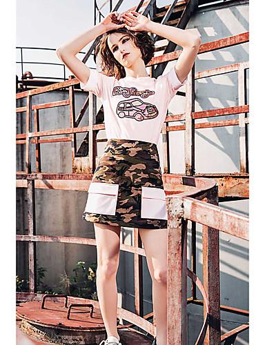 Naiset Lyhythihainen Pyöreä kaula-aukko Puuvilla Yksinkertainen Rento/arki T-paita,Yhtenäinen Painettu