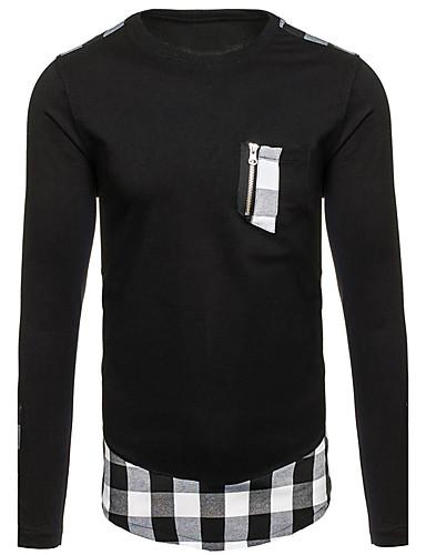 Homens Camiseta Activo / Moda de Rua Estampa Colorida Algodão / Manga Longa