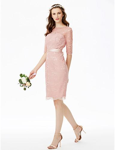 عامودي جوهرة طول الركبة دانتيل كامل فستان الاشبينة مع شريطة أوشحة / أشرطة بواسطة LAN TING BRIDE®