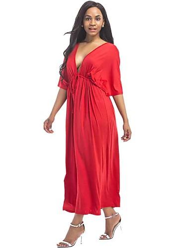Mulheres Moda de Rua Solto Vestido - Frente Única, Sólido Decote V Longo