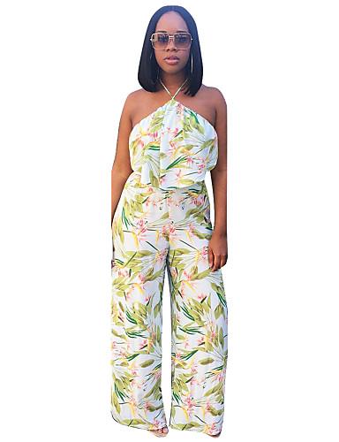 Women's Short Tank Top - Floral, Backless Printing Pant Halter