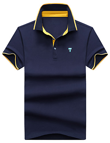 Homens Polo Clássico Fashion Estampado Algodão Colarinho de Camisa