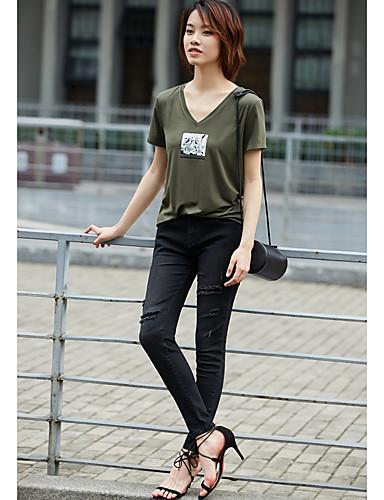 Naiset Lyhythihainen V kaula-aukko Modaali Yksinkertainen Päivittäin Kausaliteetti T-paita,Painettu