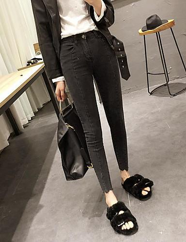 Dámské Jednoduchý Mikro elastické Džíny Kalhoty Štíhlý High Rise Jednobarevné