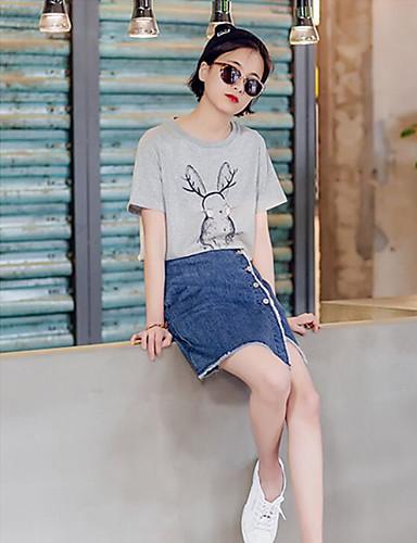 Damen Tierfell-Druck T-shirt Baumwolle